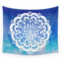 Society6 White Floral Medallion On Indigo Turquoi Wall Tapestry