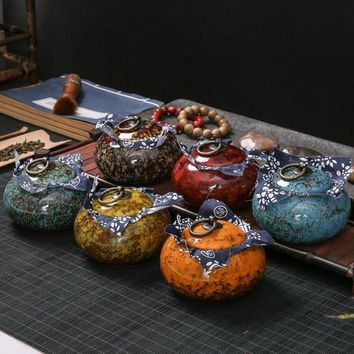 DCCKFS2 Exquisite Transmutation Glaze Spice Jar Dried fruit Jar Tea Box tea Canister ceramic Porcelain candy jar sealed tank tea caddy