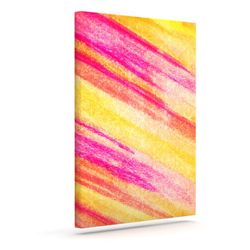 "Ebi Emporium ""All That Jazz"" Yellow Pink Canvas Art"