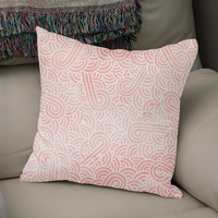 «Rose quartz and white swirls doodle», Numbered Edition Coussin by Savousepate - From 25€ - Curioos