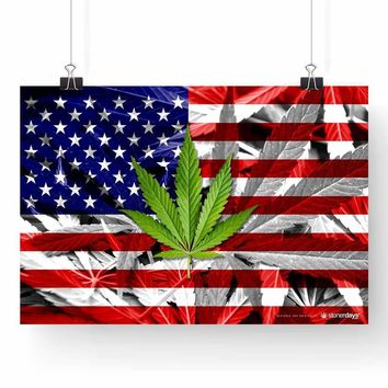 """USA FLAG WEED LEAF POSTER 13"""" x 19"""""""