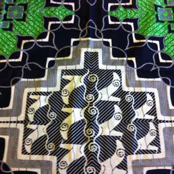 African Wax Print Fabric by the PANEL.  Green, Black, White, Gray with Large Center Pattern