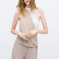Two-tone draped jumpsuit
