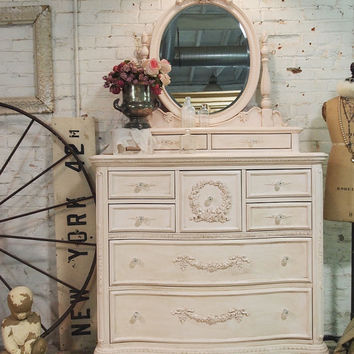 Painted Cottage Chic Shabby Tea Stained Romantic Dresser and Mirror CH53