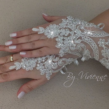 FREE SHIP ivory silver beaded lace Wedding,  bridal gloves, Long lace glove, Unique lace glove,  hand-embroidered beads