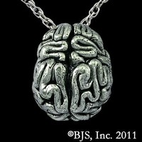 White Bronze Brain Necklace - Zombie Jewelry ZOMB-03 WHTBRONZ