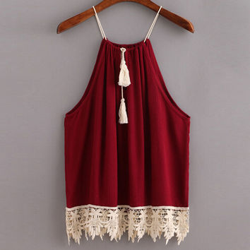 Feitong Women Lace Crop Tops Boho Style Summer Sexy Trimmed Tasselled Drawstring Tank Tops Camisole regata feminina halter top