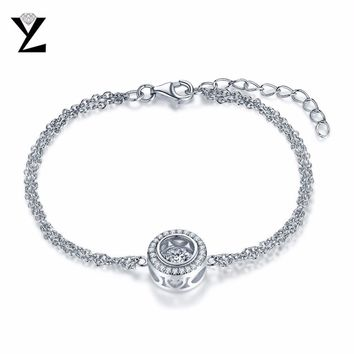 YL Dancing Round 925 Sterling Silver Friendship Bracelets for Women Best Friends Fashion Jewelry for Wedding Party