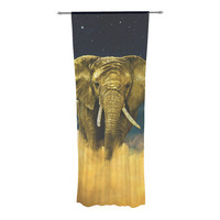 "Nick Atkinson ""Celestial Elephant"" Black Blue Decorative Sheer Curtain"
