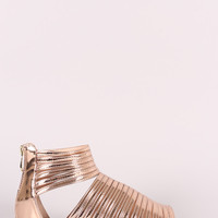Liliana Mirror Metallic Strappy Open Toe Gladiator Flat Sandal