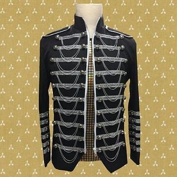 Silver Chain Decorated Military Jacket