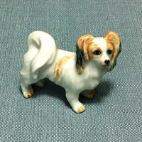 Miniature Ceramic Papillon Spaniel Dog Animal Funny Cute Little Tiny Small White Brown Figurine Statue Decoration Collectible Figure Craft