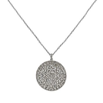 4.69ct Diamonds in 925 Sterling Silver Round Medallion Pendant Necklace