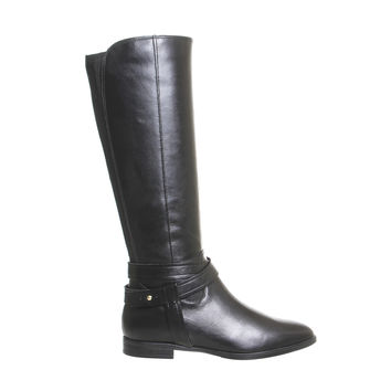 Office Kingdom Riding Boots Black Leather - Knee Boots