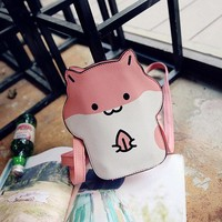 Lovely Cute Hamster Shape Pattern Zipper Shoulder Bags Crossbody Bags