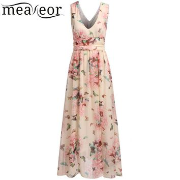 Meaneor 2018 Women Summer Dress Deep V-Neck Sleeveless Print Empire Pleated Hem Chiffon Ankle-Length Maxi Dress Lining Vestidos