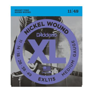D'Addario EXL115-3D Nickel Wound Electric Guitar Strings, 3 Sets, Medium/Blues-Jazz Rock, 11-49, 3-Pack