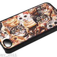 Hello Cat Overload Feline Eyes Cute iPhone 4 4s Snap On Black Case kitty