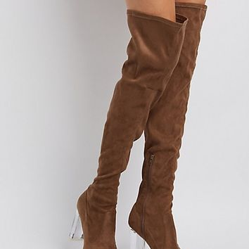 Lucite Heel Over-The-Knee Boots