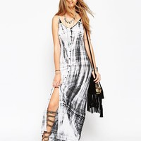 ASOS Maxi Dress in Tie Dye with Button Through Detail