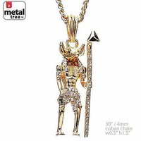 """Jewelry Kay style Men's 14K Gold Plated Hip Hop Egyptian Anubis Pendant 30"""" Cuban Chain MMP 142 G"""