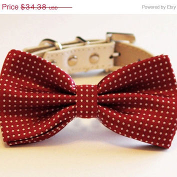 Red Dog Bow tie, Cute Dog Bow tie with high quality leather collar, Dog Wedding accessories, Pet Birthday Accessory, Red Lovers