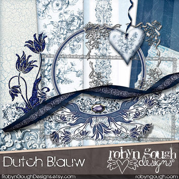 Digital Scrapbook Kit Clipart - Dutch Blue Blauw Delft