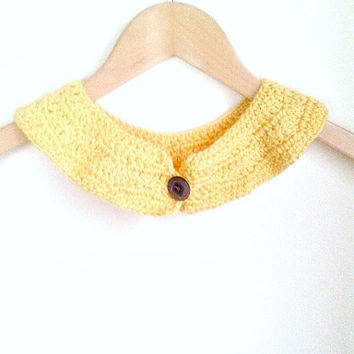 Crochet peter pan collar, Lemon yellow, Crochet necklace