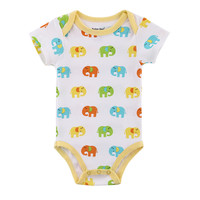 2016 Newborn Summer Rompers Cute Elephants Roupa de bebes Baby Girl Boy Jumpsuit Floral Romper Infantil Outfit Clothes Coveralls
