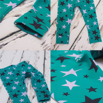 Star Baby leggings, printed leggings with star detail, teal leggings, unisex leggings, girls leggings, boys leggings, baby boys leggings