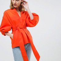 ASOS WHITE Cotton Twill Structured Sleeve Co-ord Top at asos.com