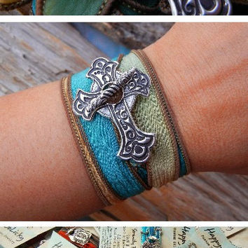 Trendy Jewelry, Cool Sideways Cross Silk Wrap Bracelet