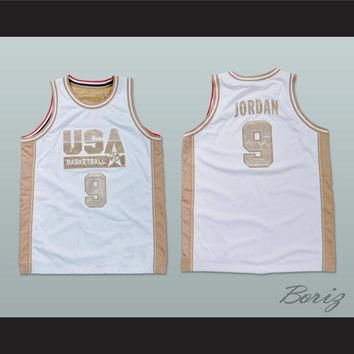 Michael Jordan White and Gold Basketball Jersey NEW Stitch Sewn