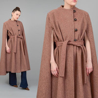 70s Cape Brown Wool Coat Full Length Poncho Vintage 1970s Long Belted Cape Coat Tie Belt Small Medium S M