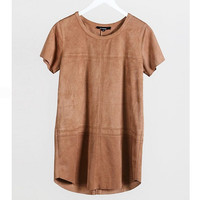 Camel Faux Suede Shift Dress