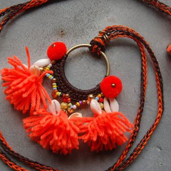 SALES! Orange Hand Woven Waxed String Beach Necklace