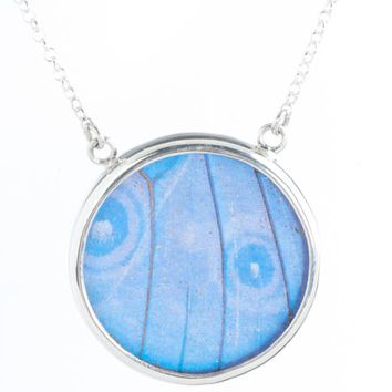 Silver butterfly necklace  - Iridescent Blue Circle Morpho Didius