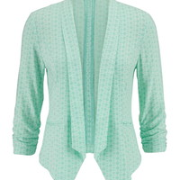Mint 3/4 Sleeve Patterned Blazer - Mint Creme Combo