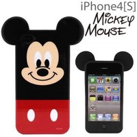 Strapya World : Disney Mickey Mouse Die-Cut TPU Cover with Ears for iPhone 4S/4