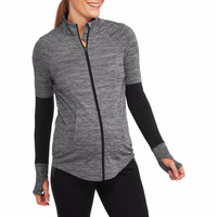Danskin Now Maternity Zip-Up Performance Jacket, Small 4-6, Charcoal Heather
