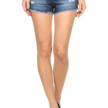 Casual 5 Pockets Low Rise Distressed Cut Off Mini Denim Shorts
