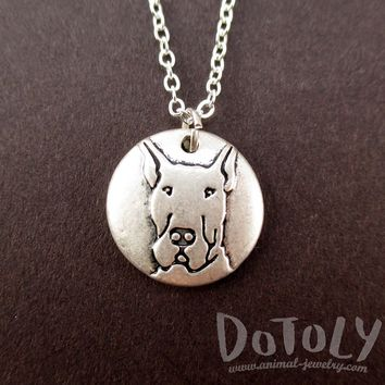 Round Engraved Great Dane Dog Portrait Pendant Necklace | Animal Jewelry