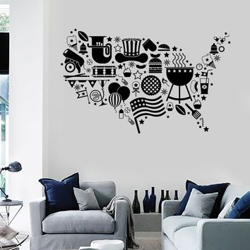 Vinyl Wall Decal USA Map Symbol Flag Holidays United States Stickers Unique Gift (ig3603)