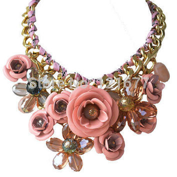 CHOKER NECKLACES Fashion Flower Jewelry Chunky Statement For Women Accessories