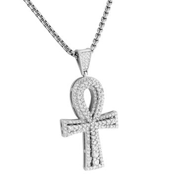 "Sterling Silver Solitaire Ankh Cross Pendant Round Cut Lab Diamonds Box 24"" Necklace"