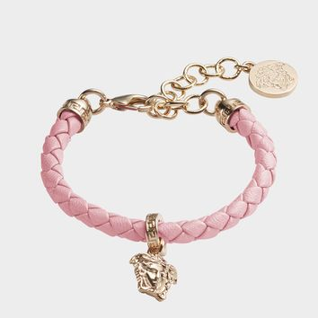 Versace Braided Leather Charm Bracelet for Women | US Online Store
