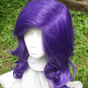 Rarity Wig, Purple wig, MLP, Cosplay, Long Curly Wig, Dark Purple, Violet, Grape, Blue,  side swept Bangs, mlp, cosplay,