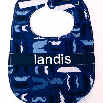 Personalized Bib with Matching Bow Tie - Baby Boy Blue and Black Mustaches