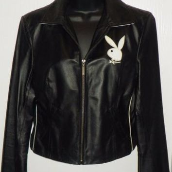 Vintage PLAYBOY WOMENS M Black Leather Jacket BUNNY LOGO Embroidered