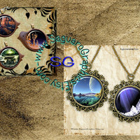 Sci - Fi Worlds & Cities Art - Digital Collage Sheets 1.5 inch Circles, Squares for Jewelry Supplies, Party Favors, Arts and Crafts